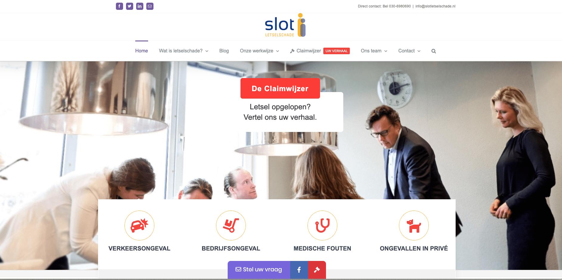 Onze nieuwe website Slot Letselschade
